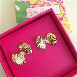 LILLY PULITZER Gold Bow Diamond Earrings